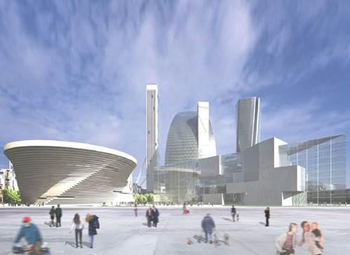מתחם המגורים והעסקים City Life<br/>(הדמיית מחשב)