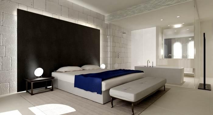 בסטודיו Lissoni Associati הם מתמקדים בפרויקטים בינלאומיים, ביניהם גם מלונות יוקרה, חדר דה לוקס במלון, (צילום באדיבות סטודיו ליסוני, מילאנו)