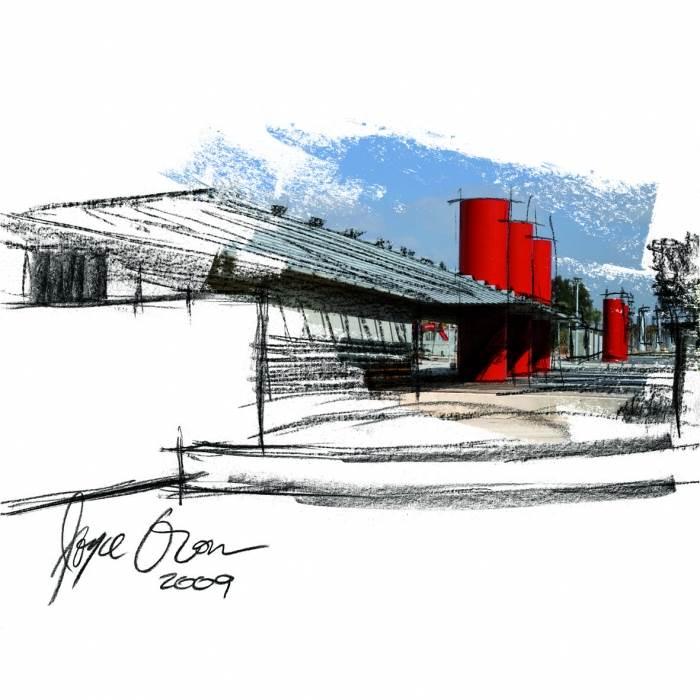 האדריכלית גויס אורון יצרה רישומי פחם משולבים עם צילומים דיגיטליים בטכניקה מעורבת, (צילום: יח