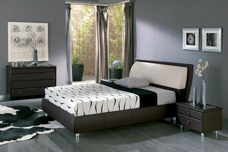 חדר שינה מודרני עם מיטה בשילוב עור, בעיצוב