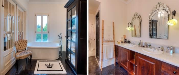 משחק של שחור ולבן, אמבטיה פרי סטנדינג וריהוט עתיק. חלל האמבטיה (צילום: נעם ארמון)