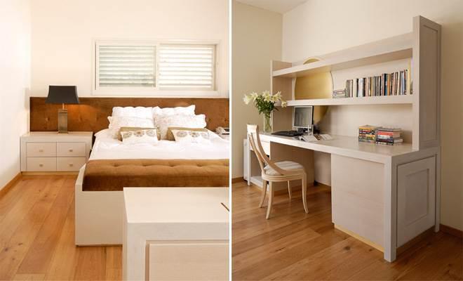 חדר כמו סוויטה בבית מלון עם כל האלמנטים החיוניים- מיטה גדולה, עמדת עבודה, חדר ארונות ואמבטיה מפנקת (צילום:אסף הבר)