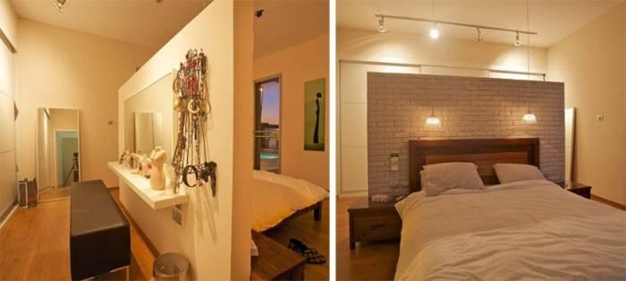 הויתור על חדר הארונות בחדר השינה הוביל לפשרה בצורת קיר לבנים גדול המפריד בין אזור השינה לאזור ההלבשה והאיפור. (צילום: דרור כץ)