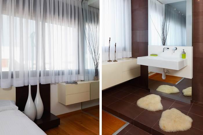 מימין: חדר האמבטיה המופרד מחדר השינה באמצעות קירות זכוכית היוצרות אשליה של גודל. משמאל: חדר השינה בגווני שחור ולבן המחופה בפרקט אשר חודר לתוך החלק היבש של חדר האמבטיה.  (צילום: שי אפשטיין)