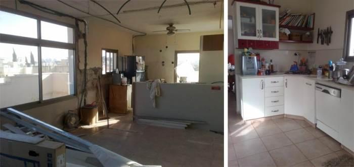 אורנות פורמייקה במראה מיושן ומיקום שונה בפינה נסתרת יותר בבית. המטבח לפני השיפוץ