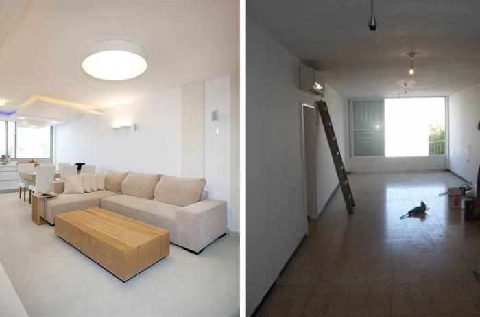 הסלון לפני ואחרי השיפוץ (צילום: בנימין אדם)