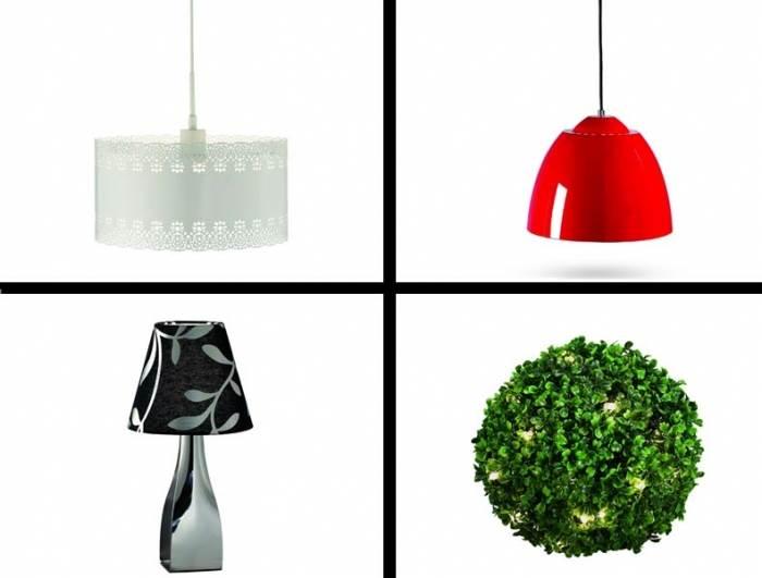 למעלה מימין: מנורת תלייה אדומה ב-579 ¤, משמאל: אהיל MARKSLODJ ב- 359 ¤. למטה מימין: מנורת שיח של לוצ