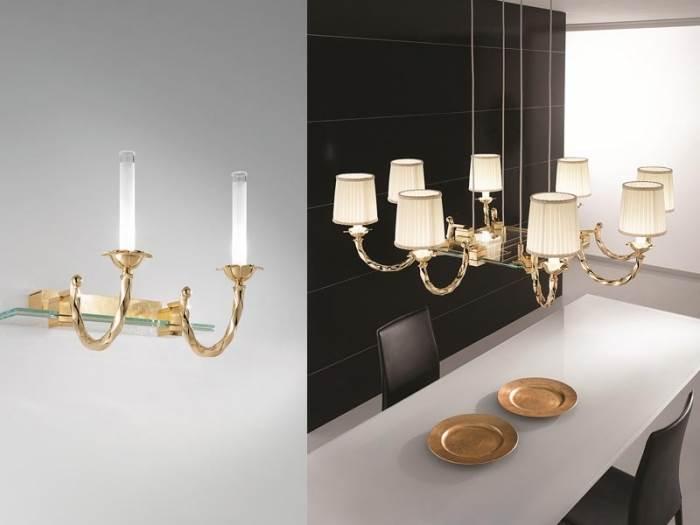 מימין: גוף תאורה תלוי המשלב נרות ואהילים. משמאל: מנורת קיר בעיצוב נרות. קמחי תאורה (צילום: יח
