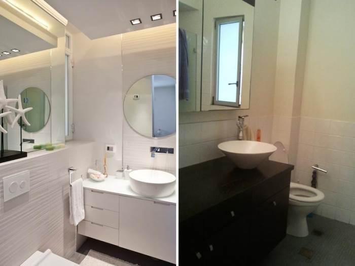 חלל קטן עם אתגר גדול הפך לחדר אמבטיה בהיר, מאוורר ומעניין (צילום: שירן כרמל)