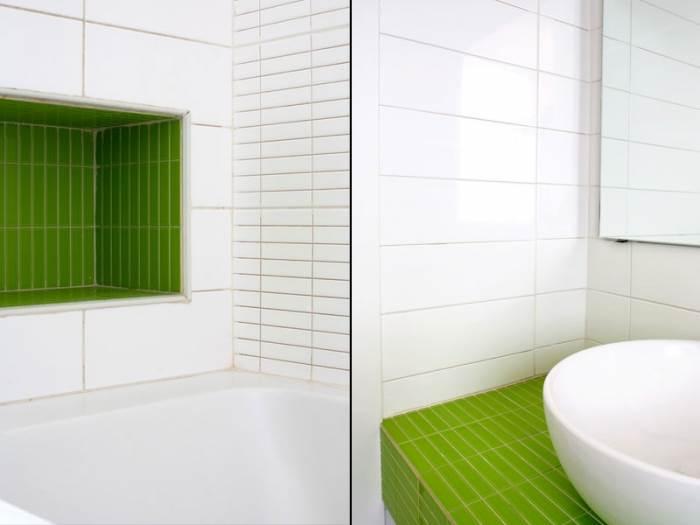 ניחשתם נכון. גם בחדר האמבטיה הכללית יש הקפדה על קווים נקיים, צבעוניות מודרנית ופתרונות אחסון (צילום: טל ניסים)