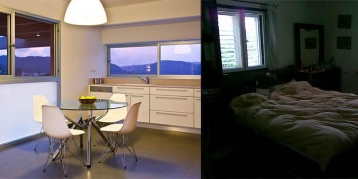 חדר השינה הישן פינה את מקומו לטובת מטבח חדש ופינת אוכל מודרנית (צילום לפני: עינב עצמון, אחרי: טל קרת)