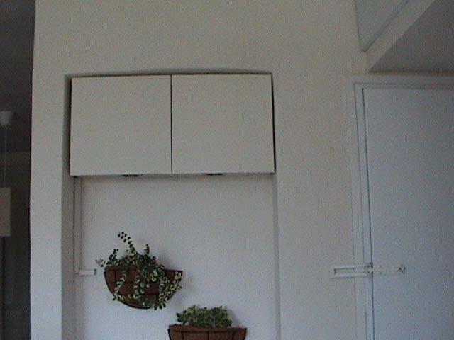 מבואת הכניסה לבית עברה שינוי במו ידיה של בעלת הדירה: הארונות חופו, הקירות נצבעו, העציצים נתלו והמראה כולו השתפר (התמונה באדיבות אדוה ענבר)