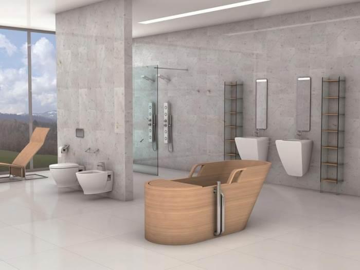 אמבטיה עשויה עץ טיק של