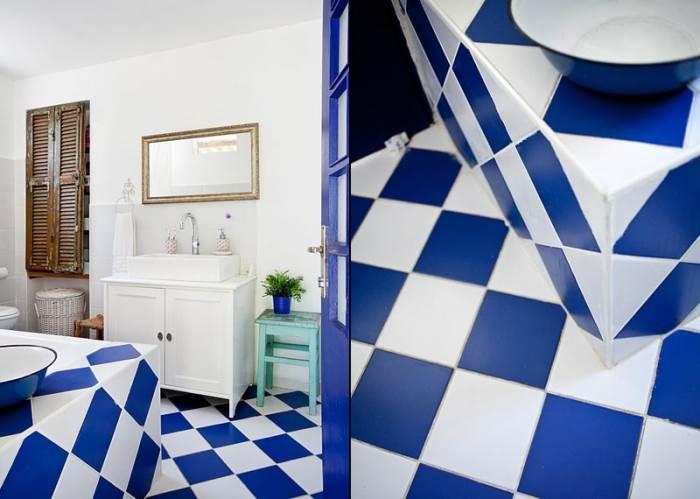 חדר אמבטיה בסגנון יווני שנראה כמו לקוח מבית אחר (צילום: בועז לביא)
