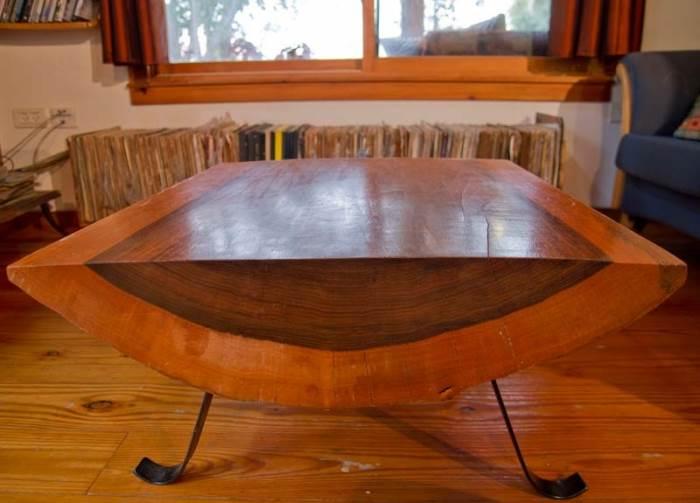 השולחן הסלוני, עבודת יד של בעל הבית (צילום: יניב ברמן, xnet)