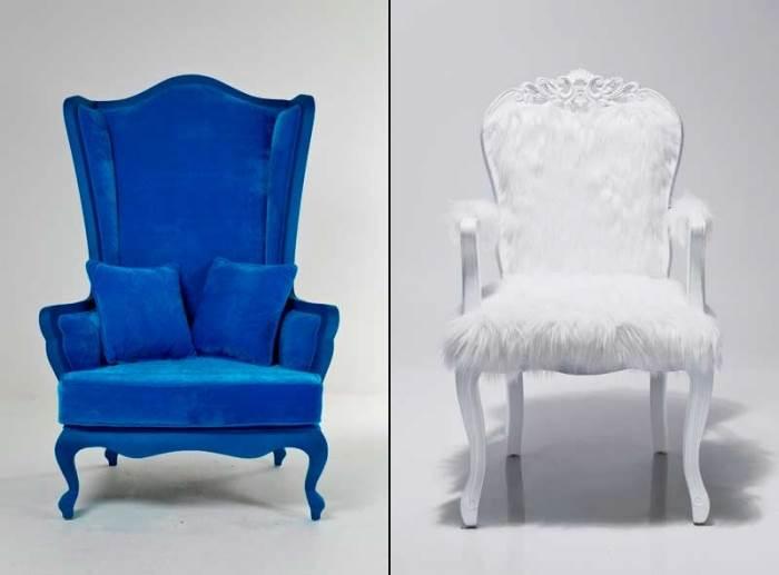 כורסא וכיסא של KARE DESIGN בצבעי כחול ולבן. שילוב קלאסי, רציני ועם זאת מרענן (צילום: יח