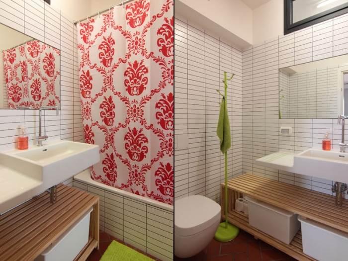 בסיס לבן ונייטרלי המאפשר גמישות עיצובית בעתיד, כשההעזה בעיצוב באה לידי ביטוי בפרטים הקטנים כמו שטיח האמבטיה הירוק או בוילון עם ההדפס האדום הבוהק