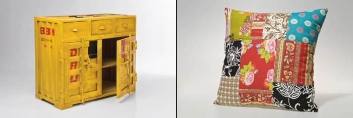 עיצובים מחומרים ממוחזרים. מימין: כרית עם דוגמת טלאים ב-64 ¤, משמאל: שידה מסדרת הקונטיינרים ב-4845 ¤. קארה דיזיין