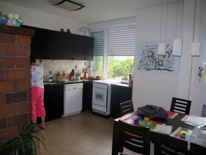 החלון המואר נותר בצל. המטבח לפני (צילום: אורלי ערן)
