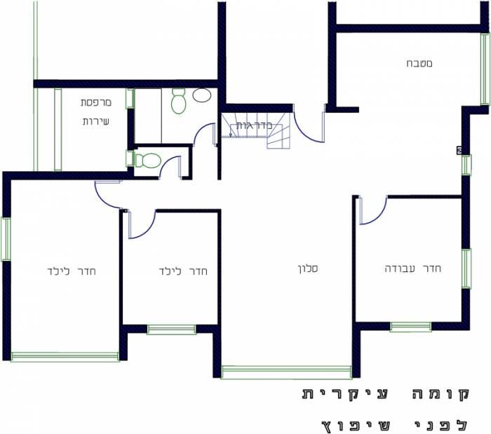 תוכנית הקומה התחתונה לפני השיפוץ