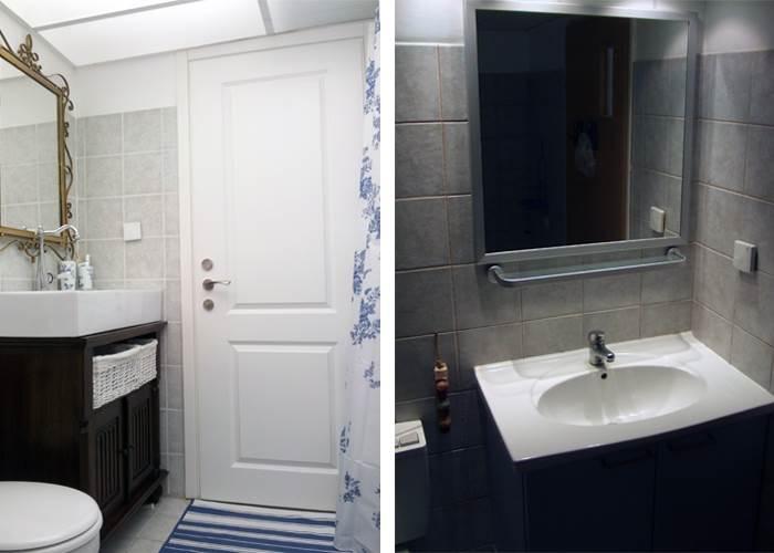 סטיילינג לחדר הרחצה בעיצובה של מיקה אלטר. מימין: האמבטיה לפני, משמאל: האמבטיה אחרי השדרוג. | עלות כוללת: 5,000 שקלים (צילום: מיקה אלטר)