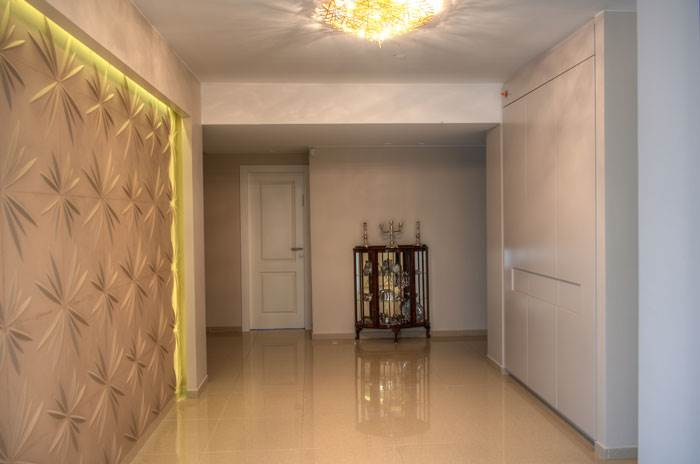 מבואת הכניסה עם קיר לוחות תלת מימדי וארון אחסון מוסווה