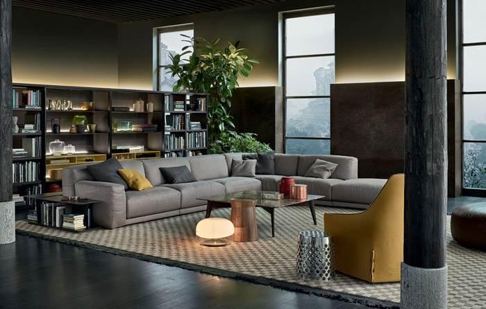לוג עץ DAMA, שולחן צד בצורת פומפיה CHEESE ושולחנות לצד ספה PARIS SEOUL של חברת POLIFORM. להשיג בהביטאט.