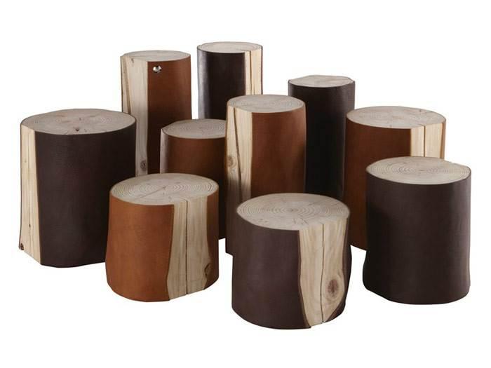 שילוב מרתק בין עץ לעור. השימוש בלוגים נעשה פופולרי מאוד בבתים מודרניים, כדי להכניס חמימות גסה וארצית לחלל. LOGGLOVE של חברת BLEU NATURE. להשיג בפנטהאוז רהיטים.