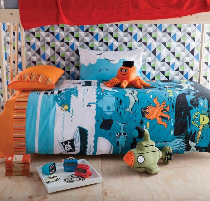 הנה עוד דרך מרעננת להכניס קצת צבע לחדרי ילדים- מצעים צבעוניים! UNDER THE SEA- קולקציית ילדים חדשה. להשיג בקאס אוסטרליה.