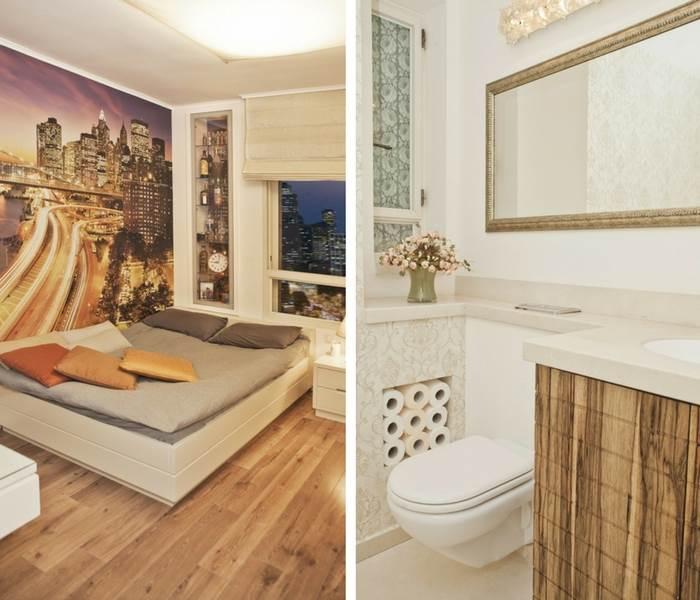מימין: שירותי אורח מלכותיים | משמאל: חדר שינה ילד עם טפט מנהטן הממשיך את הנוף האורבני הנשקף מהחלון. | צילום: גיא הכט