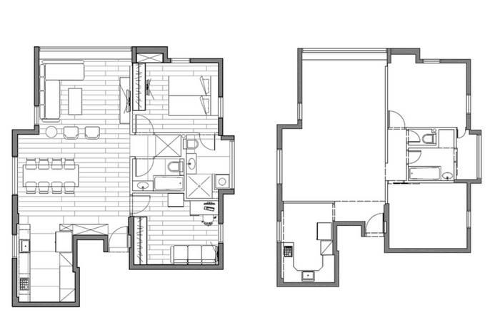 סטודיו פרטים: תכניות הבית לפני ואחרי.<br/>מימין: תכנית הבית לפני | משמאל: תכנון השיפוץ