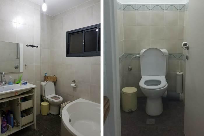 חדר האמבטיה והשירותים לפני השיפוץ