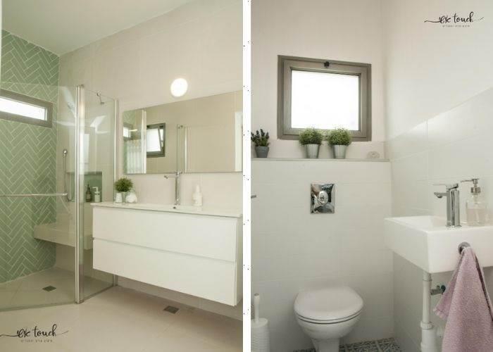 מבט לחדר אמבטיה ושירותים