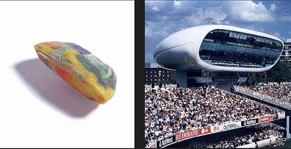 מרכז התקשורת שתכנן קפליצקי במגרש הקריקט לורדס בלונדון והאבן ממנה שאב את ההשראה</br>(צילום: האתר הרשמי)