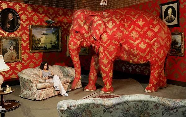 בשנים האחרונות ניכרת השפעה עצומה של פריצת גבולות העיצוב בדו מימד, וחדירה של אלמנטים גראפיים לחללים תלת מימדיים, מיצג אמנותי של בנסקי(צילום: www.banksy.co.uk)