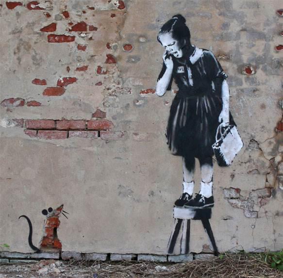 אמנות הרחוב העירונית ואמני הגרפיטי, שברו את מוסכמות תת התרבות <br/>המחתרתית שלהם, ציור קיר של בנסקי <br/>(צילום: www.banksy.co.uk)