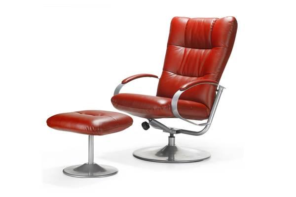 כורסא אדומה והדום תואם מדגם KAMERO, להשיג ב-