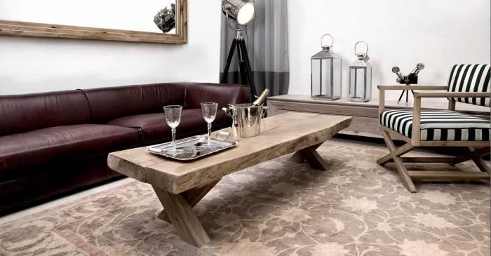 מערכת ישיבה לופט קונספט, הכוללת שולחן גזע עץ, כורסת במאי וספה דגם ניו-יורק,