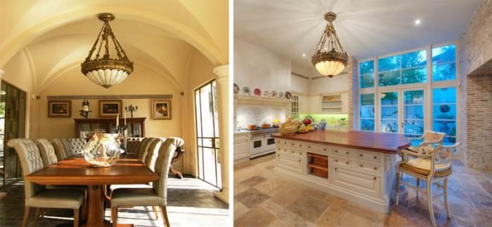 מימין: המטבח כפי שעוצב על מיטב המסורת האנגלית (צילום: נעם ארמון), משמאל: פינת האוכל המופרדת מן המטבח באמצעות דלת זכוכית גדולה ופונה לבריכה מצידה השני (צילום: ירון בייקר)