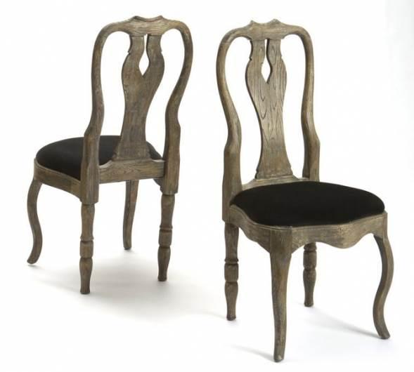 כסא מעץ מלא עם מושב קטיפה של