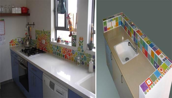 """מימין: האריחים המודולריים המשמשים לחיפוי משטח במטבח, משמאל: אריחי ה""""קרמיקס"""" בשילוב של צורות שונות לחיפוי קיר במטבח"""