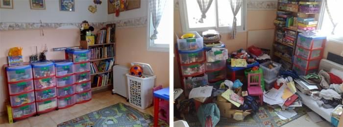 נצלו את מקומות האחסון הקיימים בבית ואל תתפתו לקנות חדשים. חדר ילדים כפי שסידרה איילת גרינברג מלצאת מהבלאגן (צילום:איילת גרינברג)