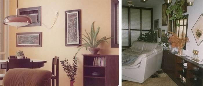 עיצוב מיושן, ריהוט כבד ותאורה טבעית לא מנוצלת. הדירה לפני השיפוץ