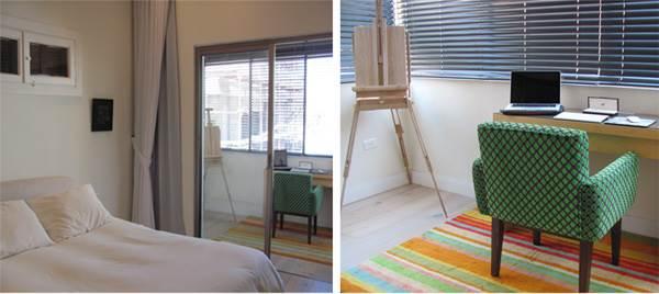 מימין: המרפסת אשר הוסבה לחדר העבודה, משמאל: חדר השינה לאחר השיפוץ