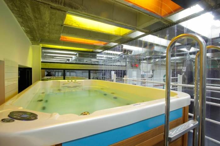 העובדים גם מתפנים לעבודה מידי פעם. בריכת הזרמים בעומק של 1.5 מטר הממוקמת בחדר הכושר (צילום:יח