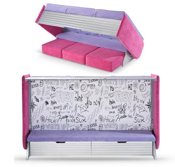 כשהמיטה פתוחה ניתן לבחור בין ספסל ישיבה, מיטה נוספת המורכבת משלושה פופים לישיבה ומגירות אחסון. מיטת ה-Inbed של וידר (צילום:יח