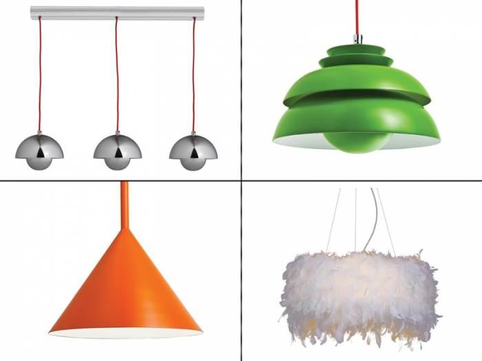 למעלה מימין: נברשת ירוקה ב-700 ¤, משמאל: פס עם 3 מנורות ב-799 ¤. למטה מימין: גוף תאורה לבן דמוי נוצות ב-700 ¤ ומשמאל: גוף תאורה כתום ב-799 ¤. מחסני תאורה (צילום: יח
