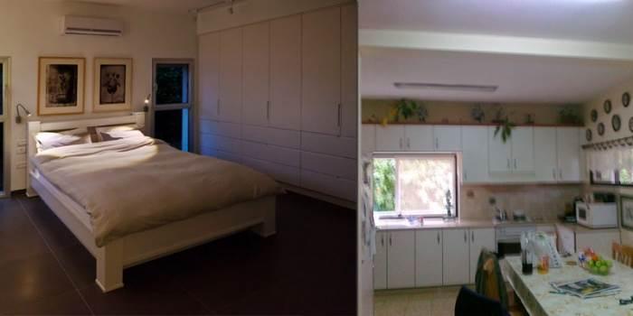 במקום שבו היה המטבח נבנה חדר השינה (צילום לפני: עינב עצמון, אחרי: טל קרת)