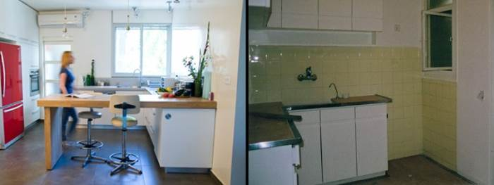 המטבח הישן והמשעמם הפך למטבח בהיר ומאוורר עם צבעוניות מדודה, בקו מינימליסטי (צילום: קלי לוי)