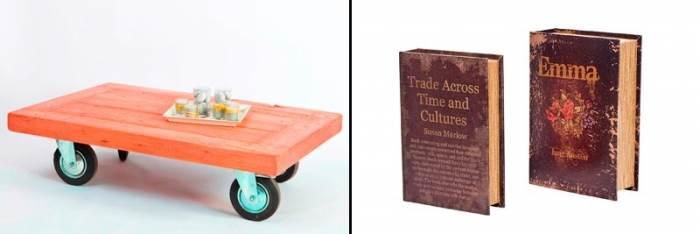 קופסאות שמחופשות לספרים של kika, ודלת כניסה שעברה הסבה מקצועית לשולחן סלון מבית VASTU (צילום: יח